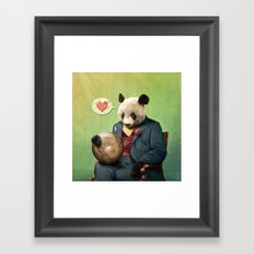 Wise Panda: Love Makes the World Go Around! Framed Art Print