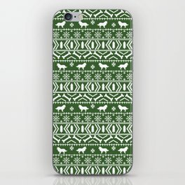 Border Collie fair isle christmas green and white holiday sweater dog breed gifts iPhone Skin