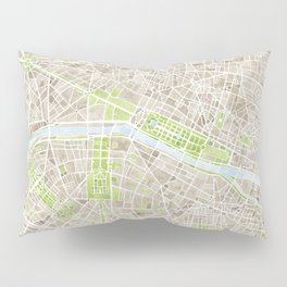 Paris SGB Watercolor Map Pillow Sham