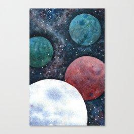 Journey through the cosmos. Alien planet watercolor Canvas Print