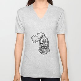 Old Knight Head Drawing Unisex V-Neck