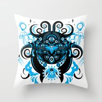 cthulu Throw Pillows featuring Lovecraftian Cosmic Horror by BlanzyDesign