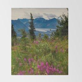 Alaskan Glacier & Fireweed Throw Blanket