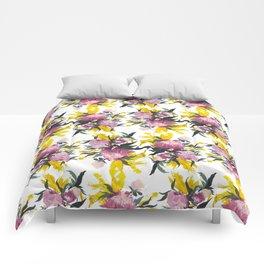 pattern Pivoine violette sur fond jaune Comforters