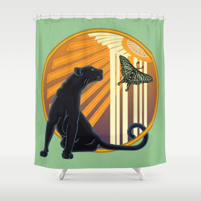 Jaguar Plain Art Deco Shower Curtain By Astrablink7