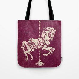 Vintage Carousel Horse - Mulberry Tote Bag