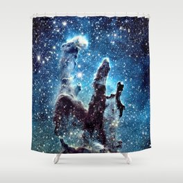 Pillars of Creation Nebula: Ocean Blue Galaxy Shower Curtain