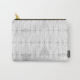 Metallic White Triangles on white Marble Carry-All Pouch