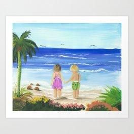Children by the sea Art Print