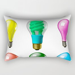Lightbulbs Of A Differnt Color Rectangular Pillow