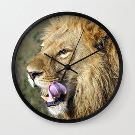 Stunning Elegant Big Male African Lion Head Profile Close Up Ultra HD Wall Clock