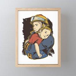 Firefighter and daughter Framed Mini Art Print