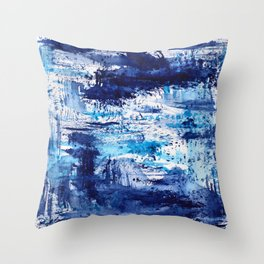 Blue passion || watercolor Throw Pillow
