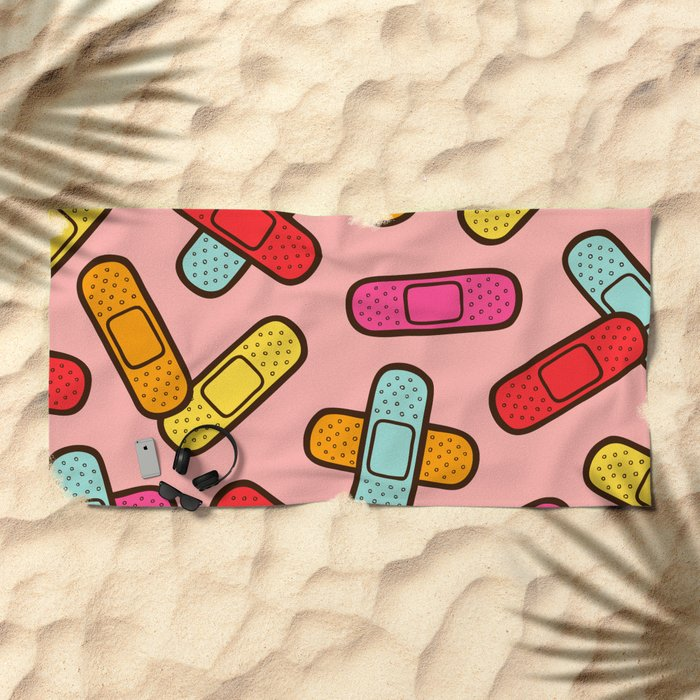 Rainbow Band-Aids Beach Towel