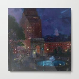 American Masterpiece 'Wet Night, Washington Square, Greenwich Village, NY' by John French Sloan Metal Print