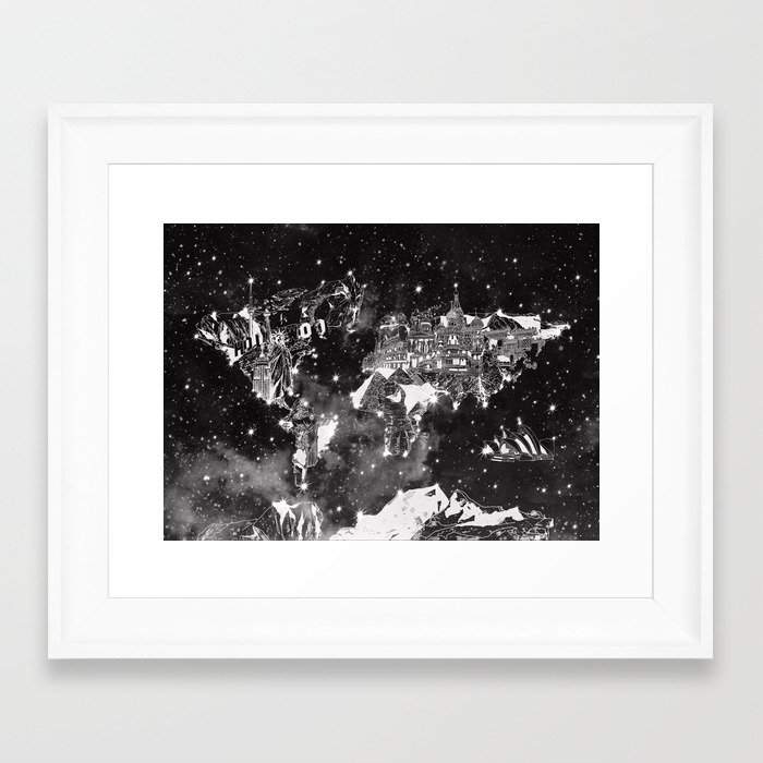 World map galaxy black and white framed art print by bekimart society6 gumiabroncs Choice Image