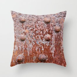 Old riveted metal wall surface Throw Pillow