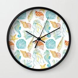 Sea theme watercolor print Wall Clock