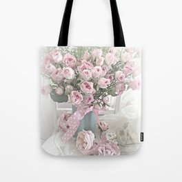 Pastel Roses In Vase - Shabby Chic Roses Pink Aqua Floral Print Home Decor Tote Bag