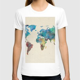 World Map Watercolor Linen Blue Red Yellow Green T-shirt