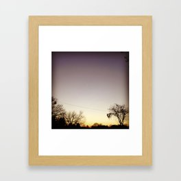 Rustic America: Evening Fades with a Rocket Across the Sky Framed Art Print
