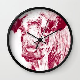 Ardnamurchan Coo - Red Wall Clock