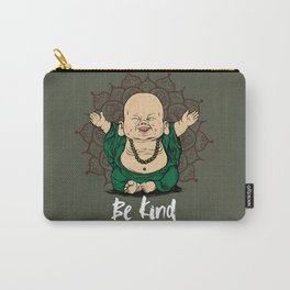 Be Kind Little Buddha Cute Smiling Buddha over mandala Carry-All Pouch