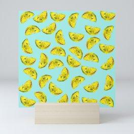 Lemon Slices Pattern Turquoise Mini Art Print