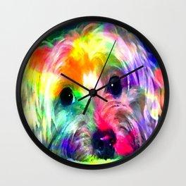 Colorful Yorkie By Annie Zeno  Wall Clock