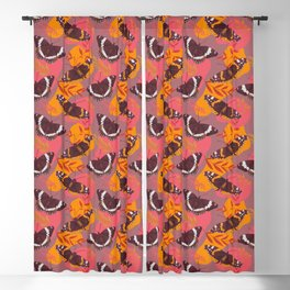 Unique Admiral Red and White Butterfly Blackout Curtain