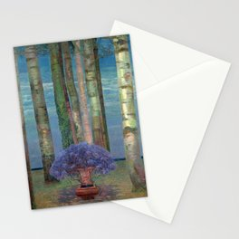 Wysteria Fountain And Poplar Trees by Emilie Mediz-Pelikan Stationery Cards