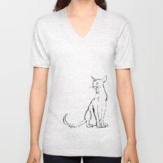 Skinny cat illustration Unisex V-Neck