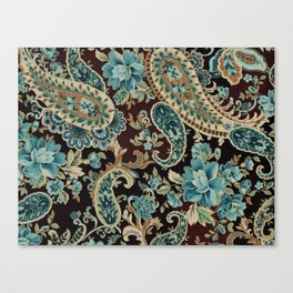Brown Turquoise Paisley Canvas Print