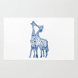Giraffes kiss art Rug