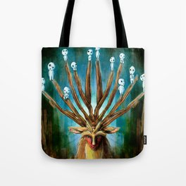 Princess Mononoke The Deer God Shishigami Tra Digital Painting. Tote Bag