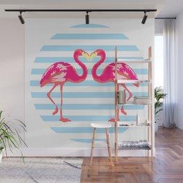 Flamingo, Flamingo t-shirt, watercolor poster, pink in blue stripes, circle Wall Mural