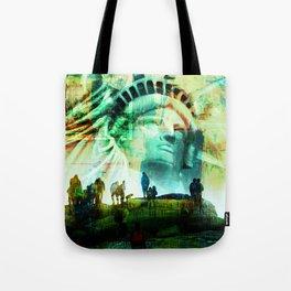 Tourist Destination - Statue of Liberty - Newspaper Style Tote Bag