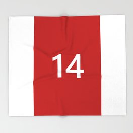 Legendary No. 14 in red and white Throw Blanket