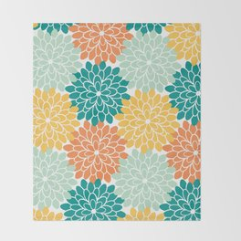 Petals in Orange, Mint, Apricot and Jade Throw Blanket