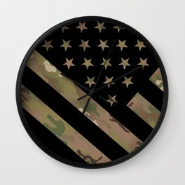 U.S. Flag: Military Camouflage Wall Clock