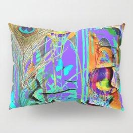 BLUE BUTTERFLY SHABBY CHIC PEELING PEACOCK PURPLE WALLPAPER Pillow Sham