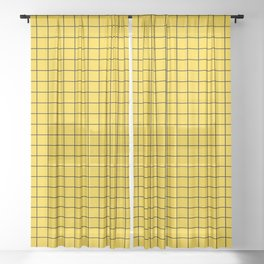 Grid Pattern - yellow and black - more colors Sheer Curtain