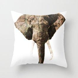 Elephant Geographic Head Illustration Throw Pillow
