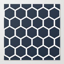 Dark blueHoneycomb pattern Canvas Print