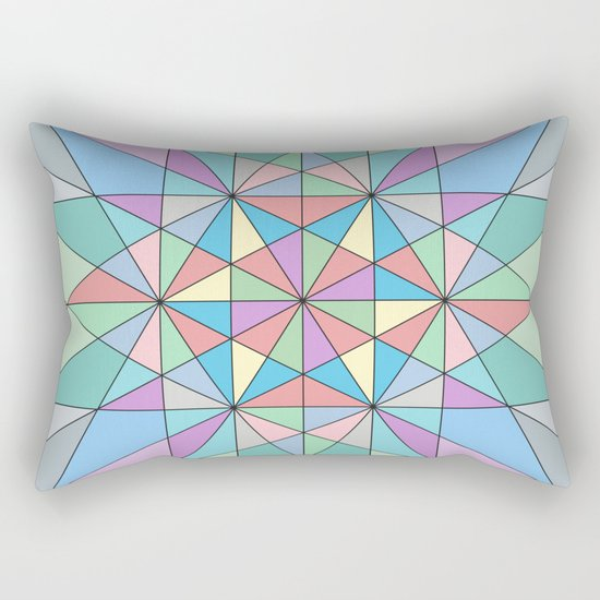 Colorful Pastel Mosaic Triangle Star Rectangular Pillow