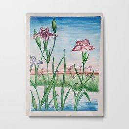 Hiroshige-inspired Irises  Metal Print