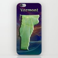 vermont iPhone & iPod Skins featuring Vermont Map by Roger Wedegis