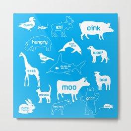 Animal Noises in Blue Metal Print