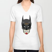 superheros V-neck T-shirts featuring Bat-Man Sugar Skull by Clark Street Press