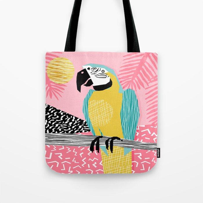 Holy Moly - memphis throwback retro neon bird macaw tropical island pop art bird watching 1980s Tote Bag